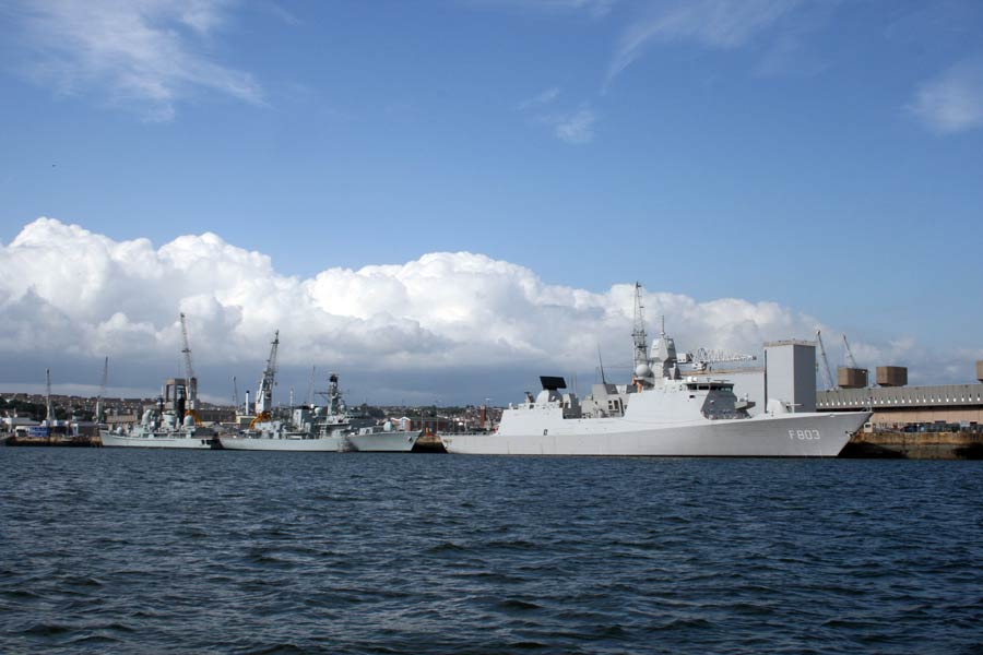 Navy ships in Plymouth harbour